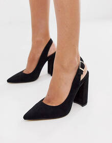 London Rebel pointed slingback heeled shoes in bla