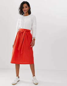 ASOS DESIGN linen full midi skirt