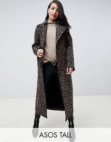ASOS DESIGN Tall mac in animal print
