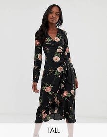 Fashion Union Tall wrap midi dress in oversize flo