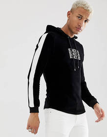 ASOS DESIGN muscle velour hoodie with text slogan