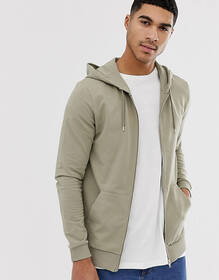 ASOS DESIGN muscle zip up hoodie in light green