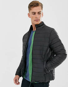 Threadbare puffer jacket in black