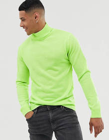 Brave Soul roll neck sweater in neon green