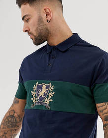 ASOS DESIGN relaxed polo with contrast panel and h