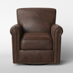 Meadowood Swivel Distressed Arm Chair Faux Leather