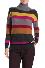 In Cashmere Striped Turtleneck Cashmere Sweater