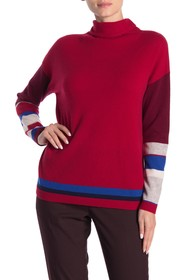 In Cashmere Mixed Stripe Turtleneck Cashmere Sweat