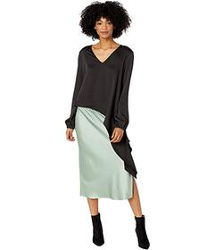BCBGMAXAZRIA Asymmetrical Long Sleeve Woven Top