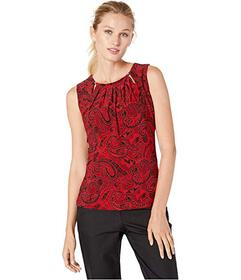 Tommy Hilfiger Printed Bead Neck Knit Top