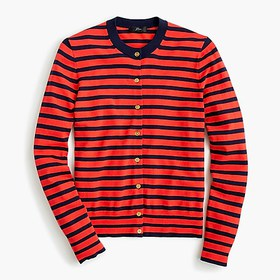 J. Crew Striped cotton Jackie cardigan sweater