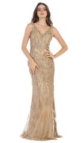 May Queen - Applique V-neck Trumpet Evening Gown R