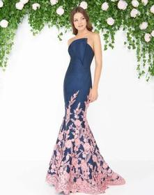 Mac Duggal - Floral Lace Pleated Mermaid Evening G