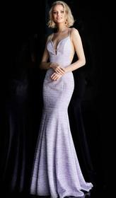 Jovani - Plunging V-neck Jersey Mermaid Evening Go
