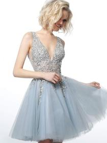 Jovani - Jeweled Plunging Bodice Cocktail Dress 17