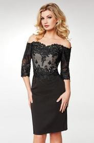 Clarisse - Lace Off-Shoulder Satin Sheath Knee Len