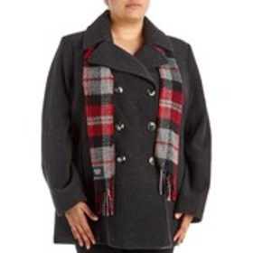 LONDON FOG Plus Size Wool Blend Coat with Scarf
