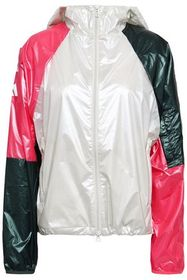 ADIDAS Color-block glossed-shell hooded jacket