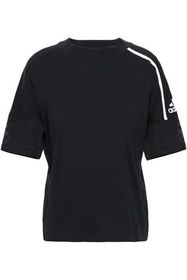 ADIDAS Striped mesh and cotton-jersey T-shirt