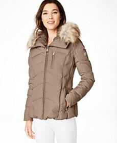 Faux-Fur-Trim Hooded Down Puffer Coat, Created For