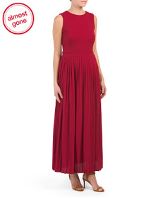 VANESSA Made In Italy Pleated Crepe Maxi Dress