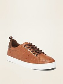 Faux-Leather Brogue Sneakers