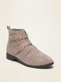 Faux-Suede Double-Buckle Booties for Girl