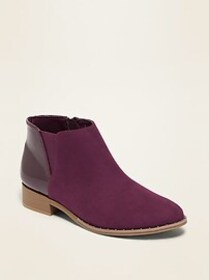 Faux-Suede/Faux-Patent Chelsea Boots for Girls