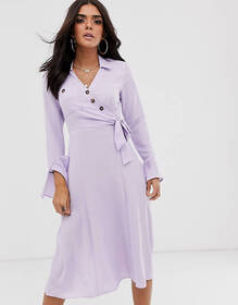 ASOS DESIGN button through wrap midi shirt dress