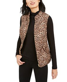 Animal-Print Quilted Vest, Created for Macy's