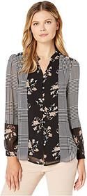 Calvin Klein Printed Button Up Blouse with Ruffle