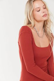 UO Paris Ribbed Long Sleeve Square Neck Top