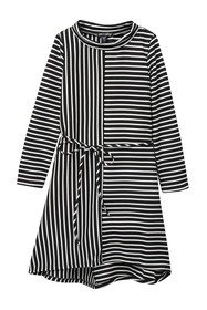 AVA AND YELLY Long Sleeve Striped Dress With Tie (