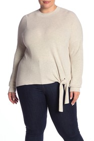 Abound Solid Tie Front Sweater (Plus Size)