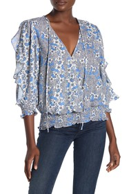 Parker Floral Ruffle Sleeve Smocked Blouse