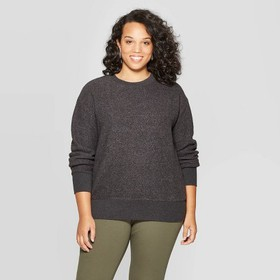 Women's Plus Size Long Sleeve Crewneck Textured Pu