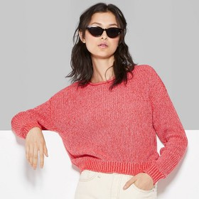 Women's Rolled Crewneck Sweater - Wild Fable™ Red