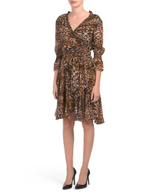 TAHARI BY ASL Petite Leopard Wrap Dress