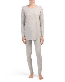 TAHARI Cashmere Scoop Neck Tunic Lounge Set