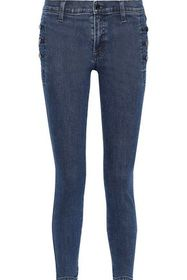 J BRAND Zion button-detailed distressed mid-rise s