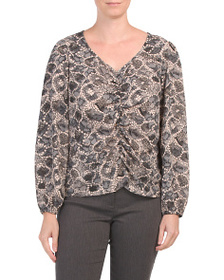 B COLLECTION Snake Print Peasant Sleeve Top