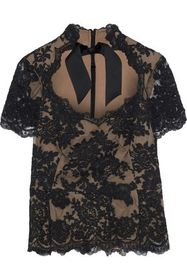 MARCHESA Tie-neck corded lace top