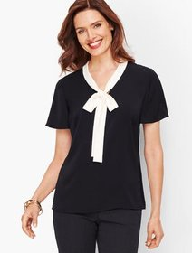 Talbots Flutter Sleeve Tie Top - Tipped