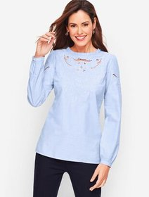 Talbots Embroidered Cutout Poplin - End on End