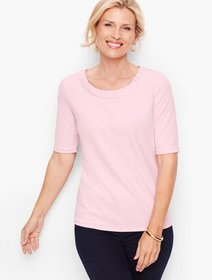Talbots Ruched Neck Crepe Top