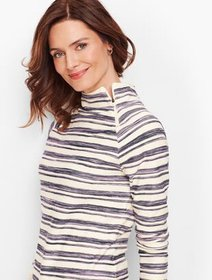 Talbots Brushed Stripe Terry Pullover