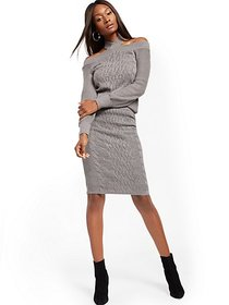 Cable-Knit Sweater Skirt - New York & Company