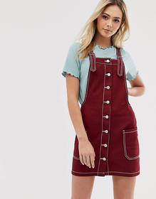 Brave Soul joan overall dress with contrast stitch