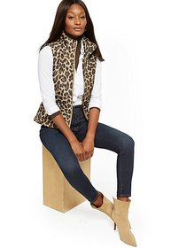 Leopard-Print Puffer Vest - New York & Company