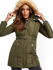 Hooded Quilted Coat - New York & Company